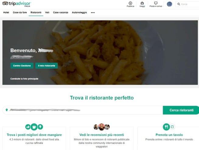 Tripadvisor-Home-page-dashboard-con-link-centro-gestione-pubblicità-ristorante