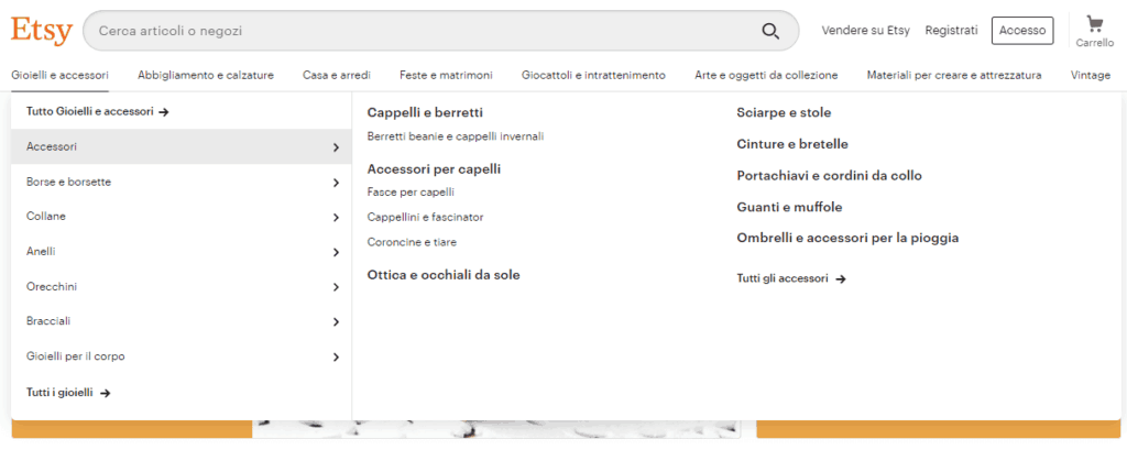 Home-Etsy-menu-categorie-sottocategorie-tipologie-prodotto-catalogo