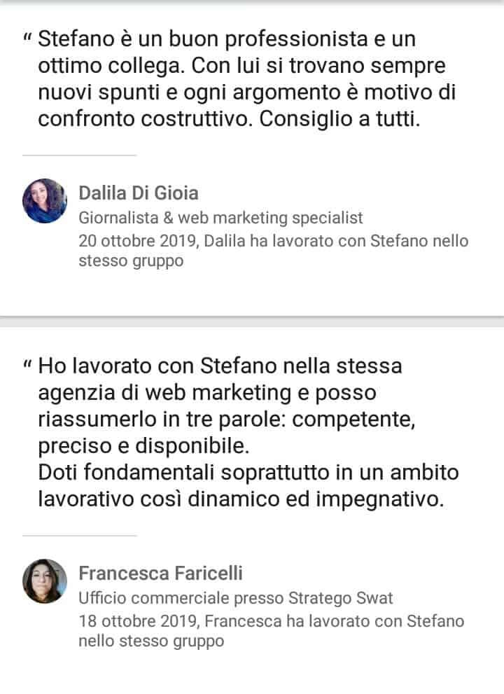 Segnalazioni-positive-LinkedIn-Stefano-Diversi-SEM-Specialist-Dalila-Francesca
